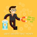 Great ideas attract money. Businessman holding Royalty Free Stock Photos