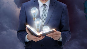 Great ideas from books. Concept of book a source of ideas Stock Image