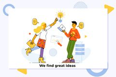 Great ideas competition.Innovation, Brainstorming, Creativity Concept. Characters Working Together on new Project. vector illustration