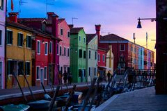 City of colors during sunset royalty free stock image