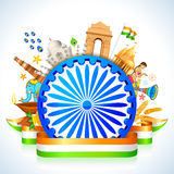 Great India. Illustration of monument around Ashoka Wheel showing culture of India vector illustration