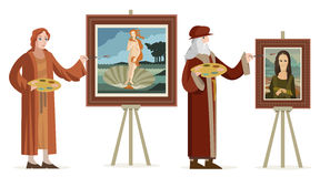 Great italian renaissance artist painting a venus redhead woman in a shell and female woman portrait. At their atelier Royalty Free Stock Photography