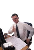 Great Job!!. Young businessman wearing glasses giving a thumbs up. Isolated Stock Photos