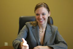 Great job!. Woman in a meeting - thumbs up Stock Photos