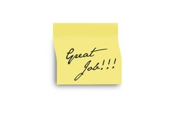 Great job. Post it on a white wall Royalty Free Stock Photo