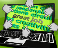 Great Job Laptop Screen Shows Awesome Work And Positive Feedback Royalty Free Stock Photography