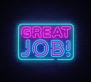 Great Job neon sign vector. Great Job Design template neon sign, light banner, neon signboard, nightly bright royalty free illustration