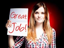 Great job, school exam and happy girl Royalty Free Stock Images