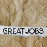 Great jobs on crumpled paper Royalty Free Stock Image