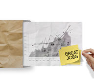 Great jobs words sticky note with business strategy Stock Photography