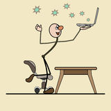 Great joy. The success of a good job. Man holding a laptop. leg on a chair. flying star Royalty Free Stock Photography
