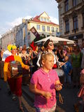 Great Juggling Parade, Lublin, Poland. The Great Juggling Parade in the historic centre of Lublin. The summer Festival of Circus Art (Carnaval Sztuk-Mistrzow) Royalty Free Stock Image
