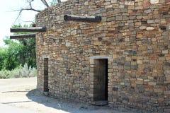 Great Kiva at Aztec National Monument. Entrances to great kiva in Aztec National Monument, New Mexico Stone wood beams Royalty Free Stock Image