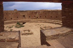 Great Kiva Through Keyhole Doorway. The Great Kiva at Chaco Canyon seen through the keyhole doorway royalty free stock photography
