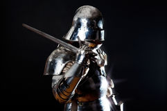 Great knight holding his sword Stock Photography
