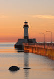 Great Lake Harbor Lighthouse Sunrise Stock Photo
