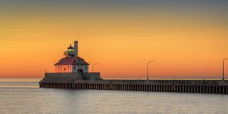 Great Lake Lighthouse Sunrise with Canal. Duluth, Minnesota Royalty Free Stock Images