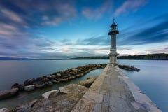 Great Lake Lighthouse Sunrise with Rocks Royalty Free Stock Photos