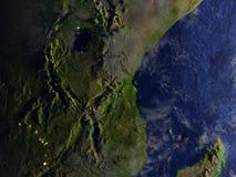 Great Lakes av Afrika på natten på realistisk modell av jord Royaltyfria Bilder