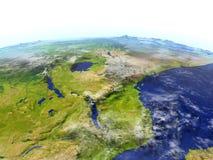 Great Lakes av Afrika på realistisk modell av jord Royaltyfria Foton