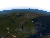 Great Lakes de l'Afrique la nuit sur terre de planète Photographie stock