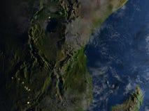 Great Lakes de l'Afrique la nuit sur terre de planète Photo stock