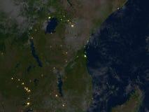 Great Lakes de l'Afrique la nuit sur terre de planète Images stock