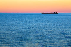 Great Lakes Freighter at Dusk Stock Image