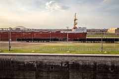 Great Lakes Freighter In The Soo Locks. Sault Ste Marie, Michigan, USA - May 31, 2014: A massive Great Lakes freighter at Soo Locks. The Locks are the busiest in stock photography