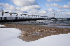 Great Lakes Light House In Winter Royalty Free Stock Image
