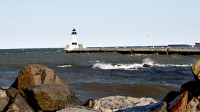 Lighthouse on the Great Lakes Stock Image