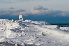 Great Lakes Lighthouse Winter Royalty Free Stock Photos