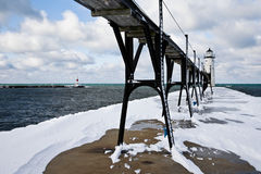 Great Lakes Lighthouse In Winter Royalty Free Stock Photos