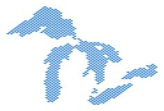 Great Lakes Map Full of Fish. Vector water area scheme organized with fish icons Royalty Free Stock Image