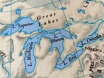 The Great Lakes on a Map Royalty Free Stock Photos