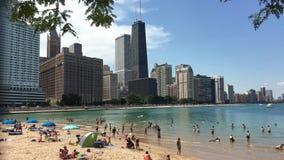 Great Lakes strand i i stadens centrum Chicago 4K stock video