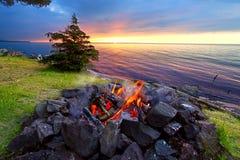 Great Lakes Sunset Beach Fire Stock Photos