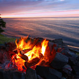 Great Lakes Sunset Beach Fire Stock Images