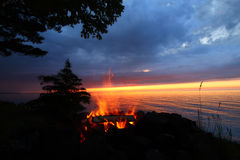 Great Lakes Sunset Beach Fire Royalty Free Stock Image