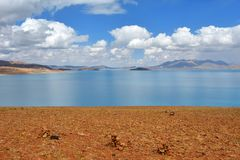 Great lakes of Tibet. Lake Rakshas Tal Langa-TSO in summer on a cloudy day. ÑŽ stock images