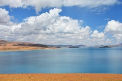 Great lakes of Tibet. Lake Rakshas Tal Langa-TSO in summer in cloudy day. ÑŽ stock photography