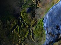 Great Lakes von Afrika auf Erde nachts - sichtbarer Meeresgrund Lizenzfreies Stockbild