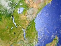 Great Lakes von Afrika auf realistischem Modell von Erde Stockfotografie