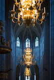 Great lamp with candles in church. Sweden, Europe Stock Image