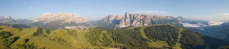 Great landscape on the Dolomites. View on Sella group, Boe peak, Gardenaccia massif and Sassongher summit. Alta Badia, Sud Tirol, royalty free stock photo