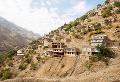 Great landscape with old houses in mountain village Hawraman of Kurdistan, Iran. Royalty Free Stock Images