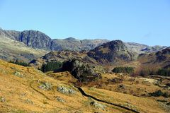 The Great Langdale Fells. Side Pike and Pavey Ark of the Langdales royalty free stock photo