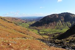 Great Langdale valley from Stickle Ghyll, Cumbria Stock Photo