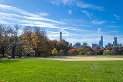 Great lawn located in the heart of Central Park during the fall Royalty Free Stock Photos