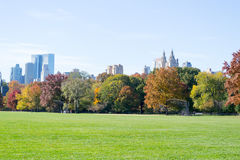 Great lawn located in the heart of Central Park during the fall Stock Image